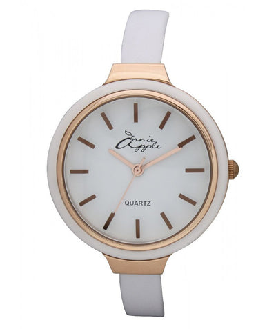 Annie Apple Simplicity Rose Gold and White Watch Ladies