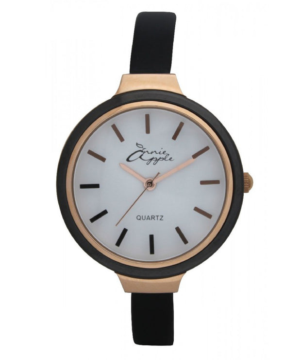 Annie Apple Simplicity Rose Gold, White and Black Watch Ladies