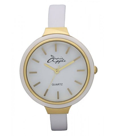 Annie Apple Simplicity Gold and White Watch Ladies