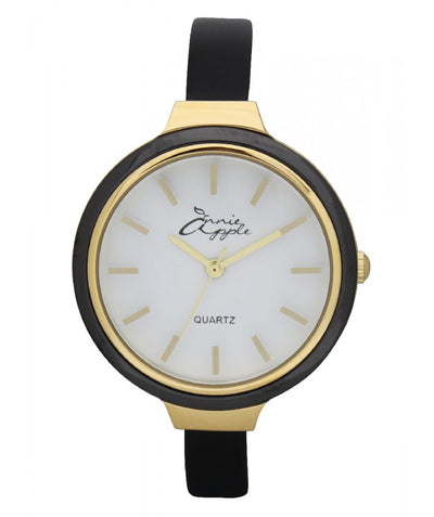Annie Apple Simplicity Gold, White and Black Watch Ladies