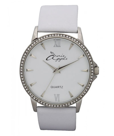 Annie Apple Timeless Swarovski Silver and White Watch Ladies