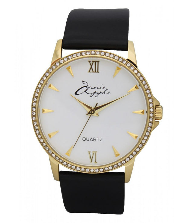 Annie Apple Timeless Swarovski Gold, White and Black Watch Ladies