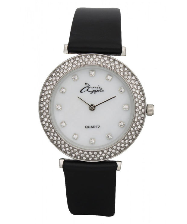 Annie Apple Mother Of Pearl Silver and Black Watch Ladies