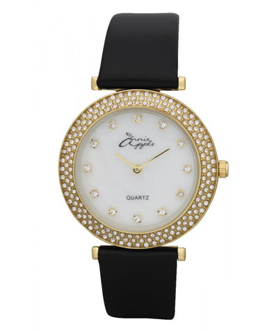 Annie Apple Mother Of Pearl Gold and Black Watch Ladies
