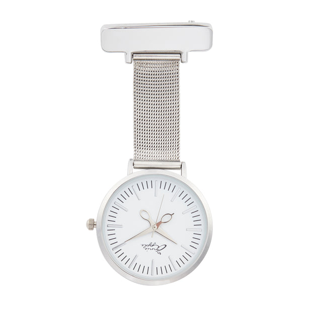 Annie Apple Silver Mesh Nurse Fob Watch Ladies