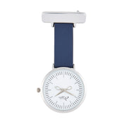 Annie Apple Navy Blue Leather and Silver Nurse Fob Watch Ladies