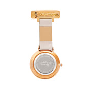 Annie Apple Grey Leather and Rose Gold Nurse Fob Watch Ladies