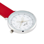 Annie Apple Red Leather and Silver Nurse Fob Watch Ladies
