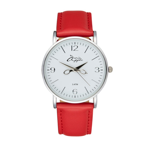 Annie Apple 'Alore' Ladies Silver and Red Leather Strap Hairdresser Scissor Hands Wrist Watch Ladies