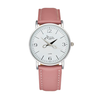 Annie Apple 'Alore' Ladies Silver and Pink Leather Strap Hairdresser Scissor Hands Wrist Watch Ladies