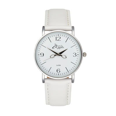 Annie Apple 'Alore' Ladies Silver and White Leather Strap Hairdresser Scissor Hands Wrist Watch Ladies