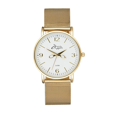 Annie Apple 'Alore' Ladies Gold and White Mesh Strap Hairdresser Scissor Hands Wrist Watch Ladies