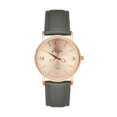Annie Apple 'Alore' Ladies Rose Gold and Dark Grey Leather Strap Hairdresser Scissor Hands Wrist Watch Ladies