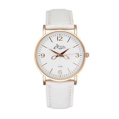 Annie Apple 'Alore' Ladies Rose Gold and White Leather Strap Hairdresser Scissor Hands Wrist Watch Ladies