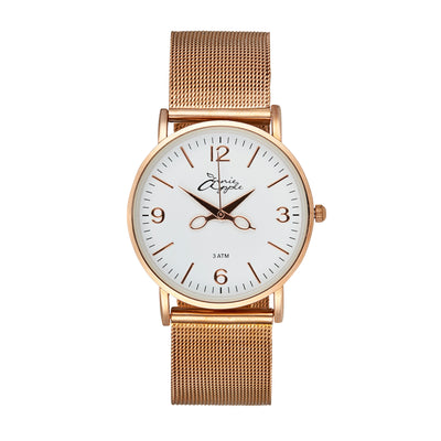 Annie Apple 'Alore' Ladies White and Rose Gold Mesh Strap Hairdresser Scissor Hands Wrist Watch Ladies