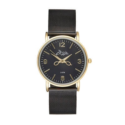 Annie Apple 'Alore' Ladies Gold and Black Mesh Strap Hairdresser Scissor Hands Wrist Watch Ladies