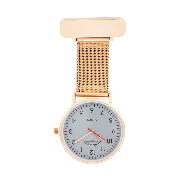 Annie Apple Rose Gold and Grey Nurse Fob watch Ladies
