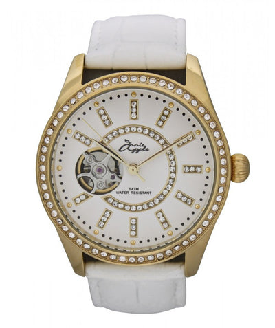 Annie Apple Eternity Swarovski Gold and White Automatic Watch Ladies