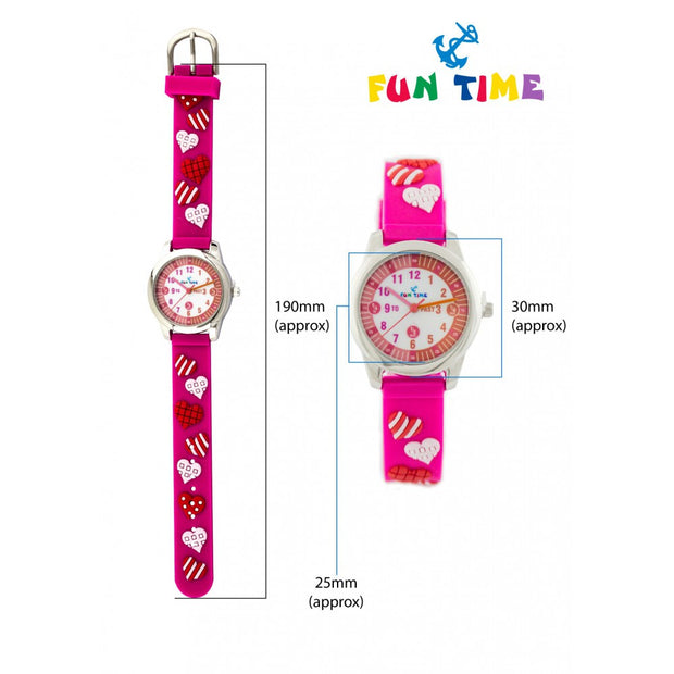 Fun Time Hearts and Love Silicon Kids Watch