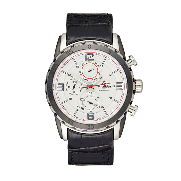 Bermuda Watch Co Hamilton Silver, White and Black Chronograph Watch Mens