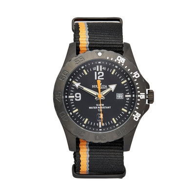 Bermuda Watch Co Stovel Bay Black and Orange Nylon GTLS watch Mens