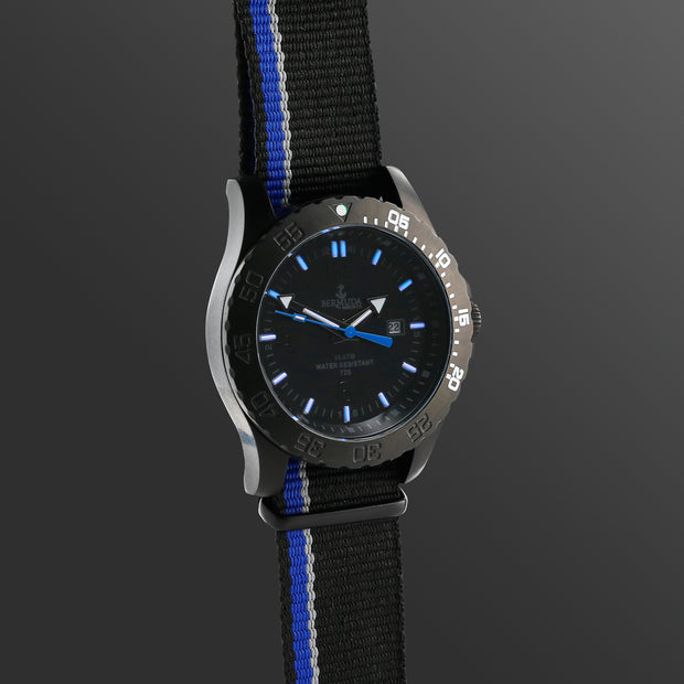 Bermuda Watch Co Stovel Bay Black and Blue Nylon GTLS watch Mens