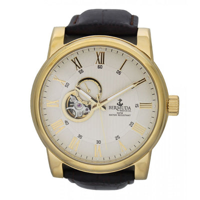 Bermuda Watch Co St George Gold and Brown Automatic Watch Mens