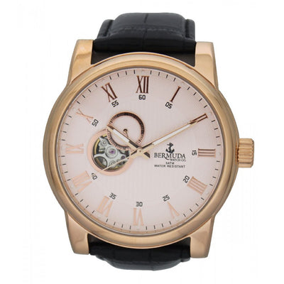 Bermuda Watch Co St George Rose Gold and Black Automatic Watch Mens