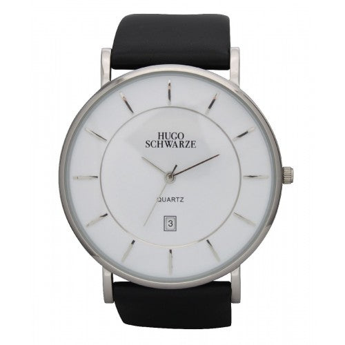 Hugo Schwarze Montague Silver, White and Black Watch Mens
