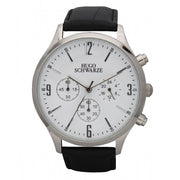 Hugo Schwarze Cassius Silver, White and Black Chronograph Watch Mens