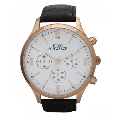 Hugo Schwarze Cassius Rose Gold, White and Brown Chronograph Watch Mens