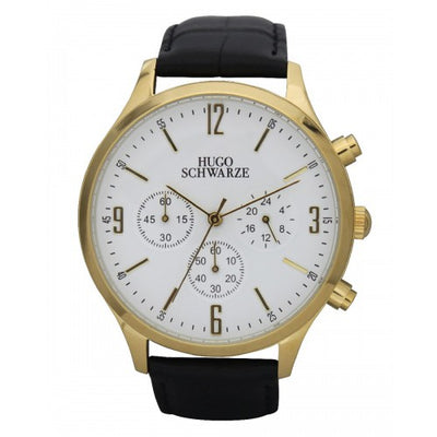 Hugo Schwarze Cassius Gold, White and Black Chronograph Watch Mens