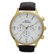 Hugo Schwarze Cassius Gold, White and Brown Chronograph Watch Mens