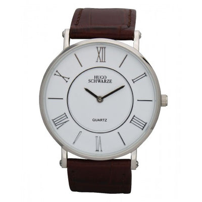 Hugo Schwarze, Kendall Silver, White and Brown Watch Mens