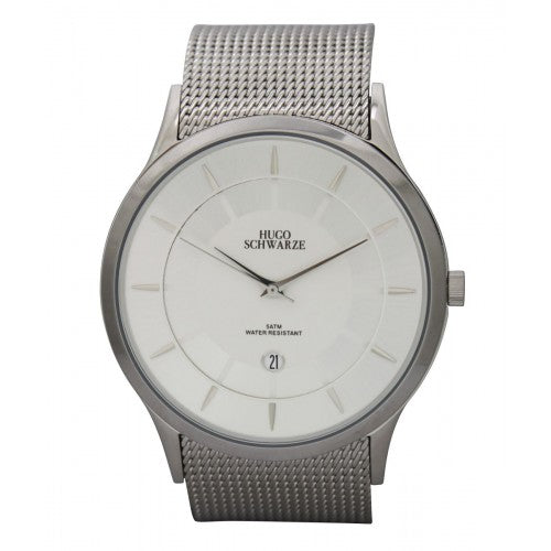 Hugo Schwarze Hendrik Silver Mesh Watch Mens
