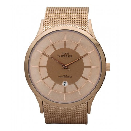 Hugo Schwarze Hendrik Rose Gold Mesh Watch Mens