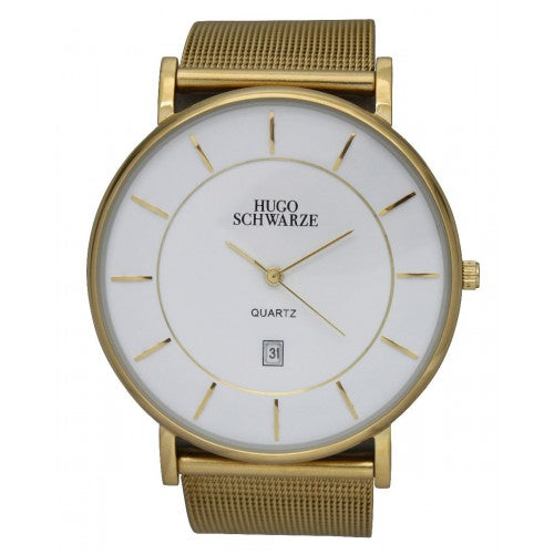Theodore Mesh Strap Gold and White Mens