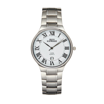 Hugo Schwarze Kahlo Silver and White Bracelet Watch Mens