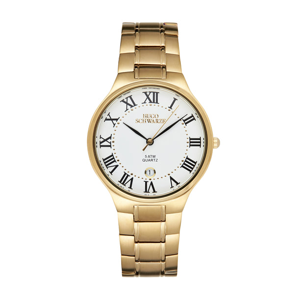Hugo Schwarze Kahlo Gold and White Bracelet Watch Mens
