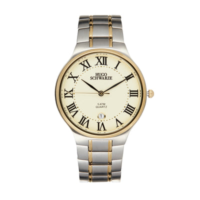 Hugo Schwarze Kahlo Silver and Gold Bracelet Watch Mens