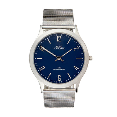 Hugo Schwarze Theodore Silver, Blue and Black Slim Interchangeable Watch Mens