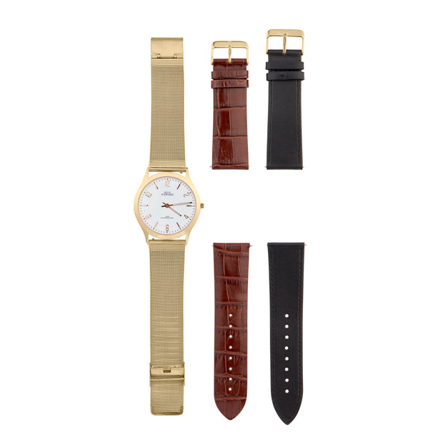 Hugo Schwarze Theodore Gold, Brown and Black Slim Interchangeable Watch Mens