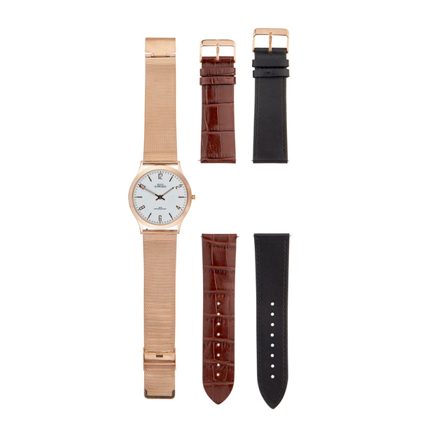 Hugo Schwarze Theodore Rose Gold, Brown and Black Slim Interchangeable Watch Mens