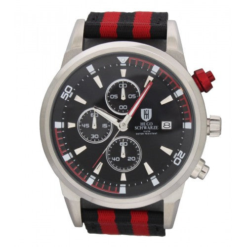 Hugo Schwarze, Reuben Silver, Red and Black Nato Chronograph Watch Mens