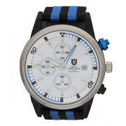 Hugo Schwarze, Reuben Silver, Blue and Black Nato Chronograph Watch Mens