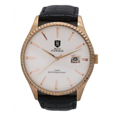 Hugo Schwarze Jaxon Rose Gold and Black Watch Mens