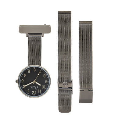 Annie Apple Empress Interchangeable Gunmetal Grey  Mesh Wrist to Nurse Watch Ladies