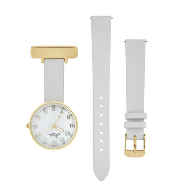 Annie Apple Empress Interchangeable Gold, Grey Leather Wrist to Nurse Watch Ladies