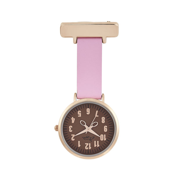 Annie Apple Pink Leather, Brown and Rose Gold Nurse Fob Watch Ladies