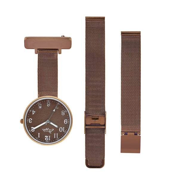 Annie Apple Empress Interchangeable Brown Mesh Wrist to Nurse Watch Ladies